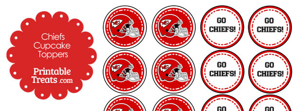 Kansas City Chiefs Cupcake Toppers