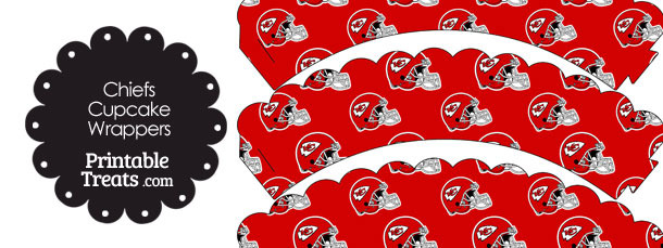 Kansas City Chiefs Football Helmet Scalloped Cupcake Wrappers