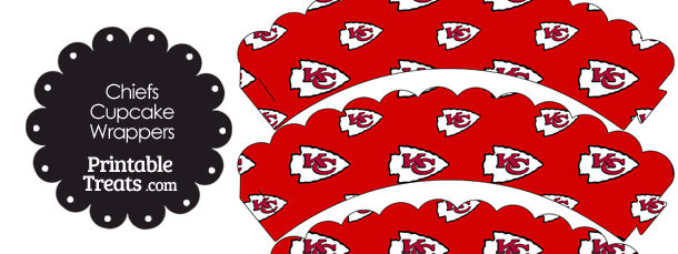 Kansas City Chiefs Logo Scalloped Cupcake Wrappers