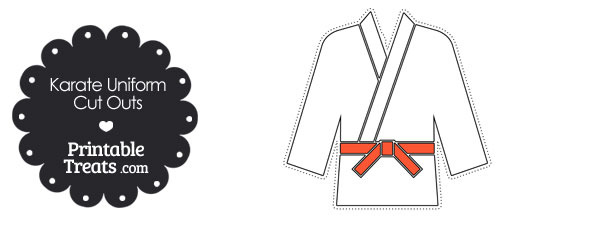 Karate Uniform with Orange Belt Cut Outs