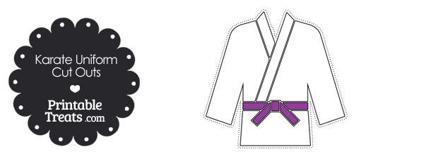 Karate Uniform with Purple Belt Cut Outs