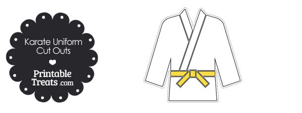 Karate Uniform with Yellow Belt Cut Outs