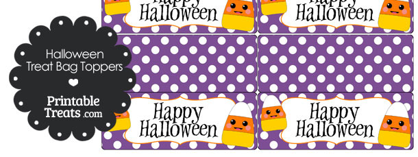 Kawaii Candy Corn Treat Bag Toppers