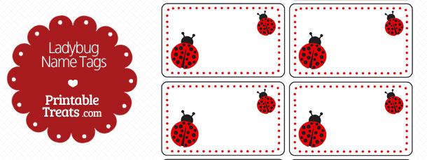 ladybug name tags  u2014 printable treats com