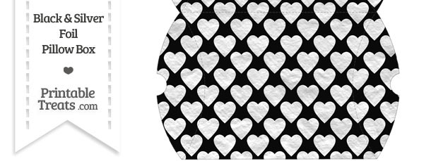 Large Black and Silver Foil Hearts Pillow Box