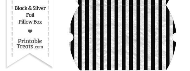 Large Black and Silver Foil Stripes Pillow Box