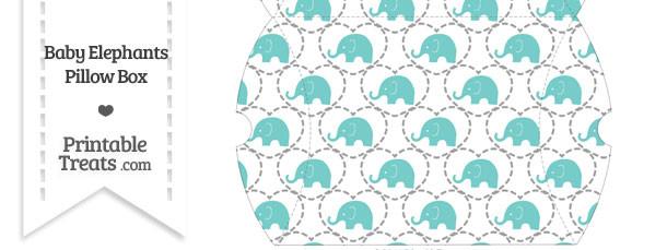 Large Blue Green Baby Elephants Pillow Box