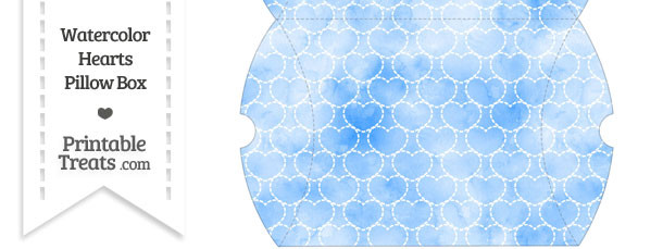 Large Blue Watercolor Hearts Pillow Box