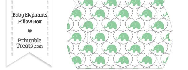 Large Green Baby Elephants Pillow Box