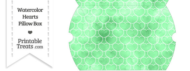 Large Green Watercolor Hearts Pillow Box