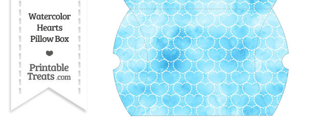 Large Light Blue Watercolor Hearts Pillow Box