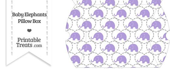 Large Purple Baby Elephants Pillow Box