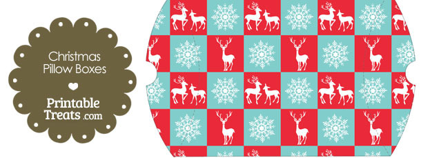 Large Reindeer and Snowflakes Pillow Box