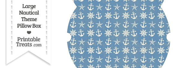 Large Vintage Blue Nautical Pillow Box