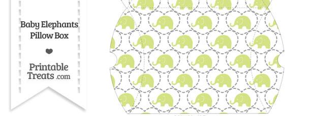 Large Yellow Green Baby Elephants Pillow Box