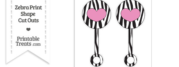 Large Zebra Print Baby Rattle Cut Outs