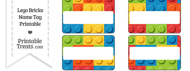 graphic relating to Printable Name Tags titled Lego Bricks Reputation Tags Printable