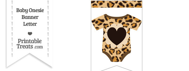 Leopard Print Baby Onesie Bunting Banner Heart End Flag