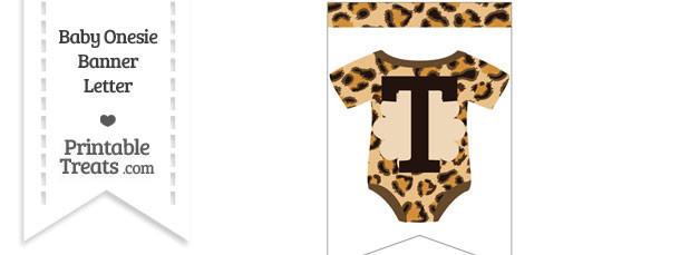 Leopard Print Baby Onesie Bunting Banner Letter T