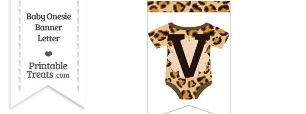 Leopard Print Baby Onesie Bunting Banner Letter V