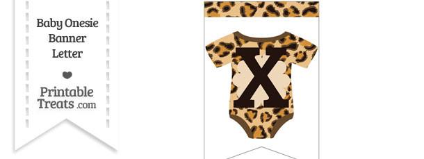 Leopard Print Baby Onesie Bunting Banner Letter X