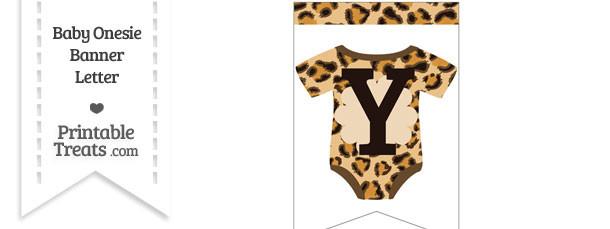 Leopard Print Baby Onesie Bunting Banner Letter Y