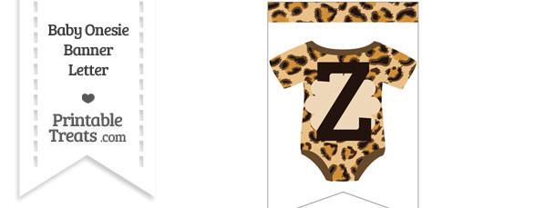 Leopard Print Baby Onesie Bunting Banner Letter Z