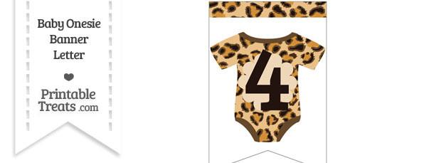 Leopard Print Baby Onesie Bunting Banner Number 4