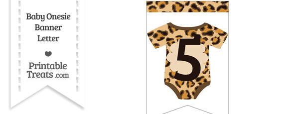 Leopard Print Baby Onesie Bunting Banner Number 5