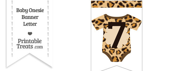Leopard Print Baby Onesie Bunting Banner Number 7