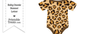 Leopard Print Baby Onesie Shaped Banner Blank Spacer Flag
