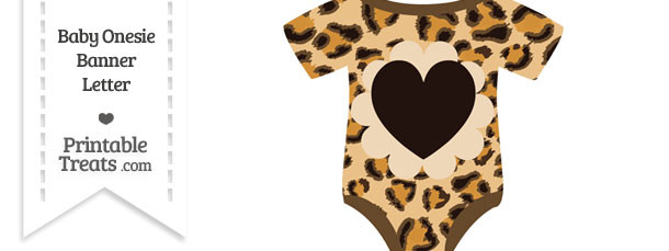 Leopard Print Baby Onesie Shaped Banner Heart End Flag
