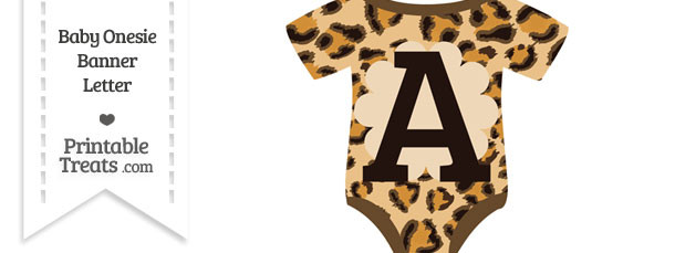 Leopard Print Baby Onesie Shaped Banner Letter A