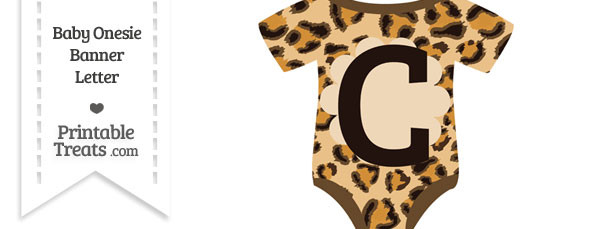 Leopard Print Baby Onesie Shaped Banner Letter C