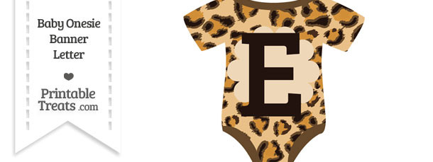 Leopard Print Baby Onesie Shaped Banner Letter E