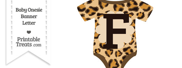 Leopard Print Baby Onesie Shaped Banner Letter F