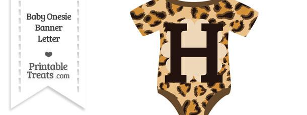 Leopard Print Baby Onesie Shaped Banner Letter H