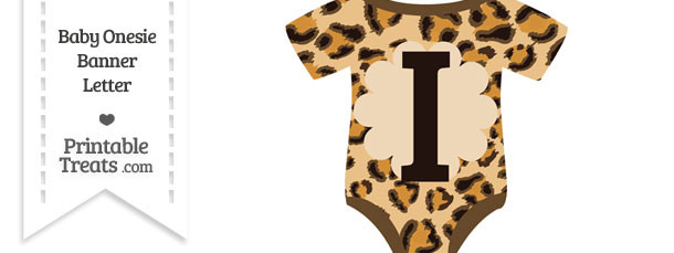 Leopard Print Baby Onesie Shaped Banner Letter I