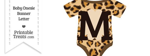 Leopard Print Baby Onesie Shaped Banner Letter M