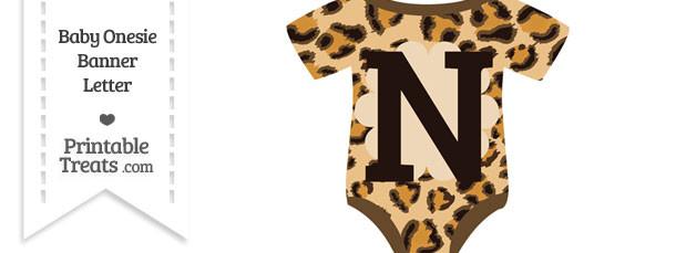 Leopard Print Baby Onesie Shaped Banner Letter N