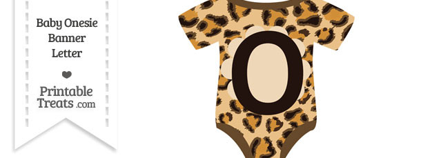 Leopard Print Baby Onesie Shaped Banner Letter O