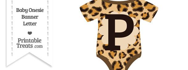 Leopard Print Baby Onesie Shaped Banner Letter P