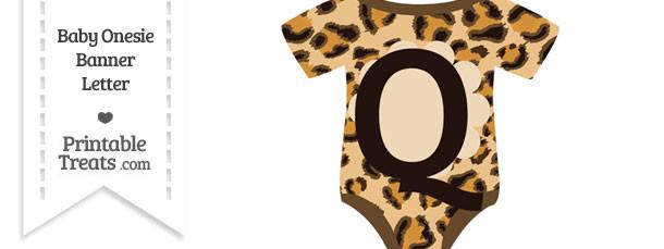 Leopard Print Baby Onesie Shaped Banner Letter Q
