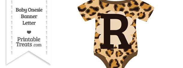Leopard Print Baby Onesie Shaped Banner Letter R