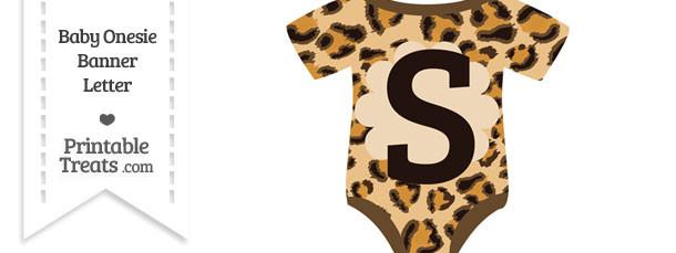 Leopard Print Baby Onesie Shaped Banner Letter S