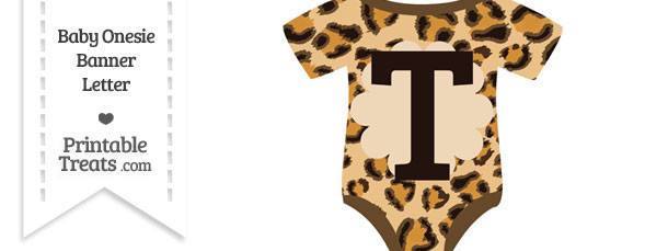 Leopard Print Baby Onesie Shaped Banner Letter T