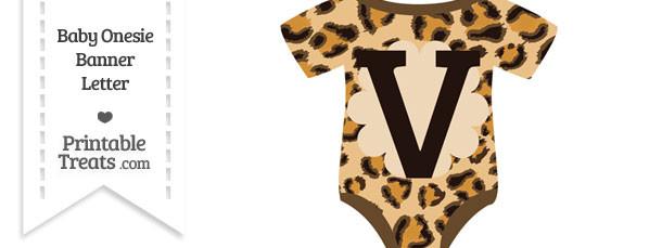 Leopard Print Baby Onesie Shaped Banner Letter V