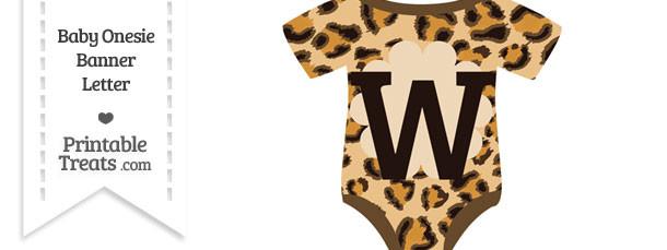 Leopard Print Baby Onesie Shaped Banner Letter W