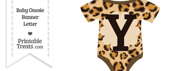 Leopard Print Baby Onesie Shaped Banner Letter Y