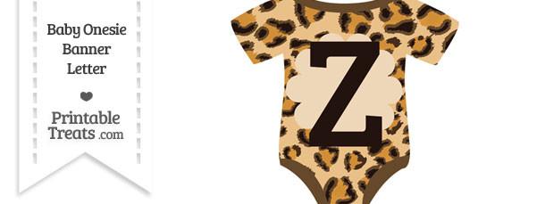 Leopard Print Baby Onesie Shaped Banner Letter Z